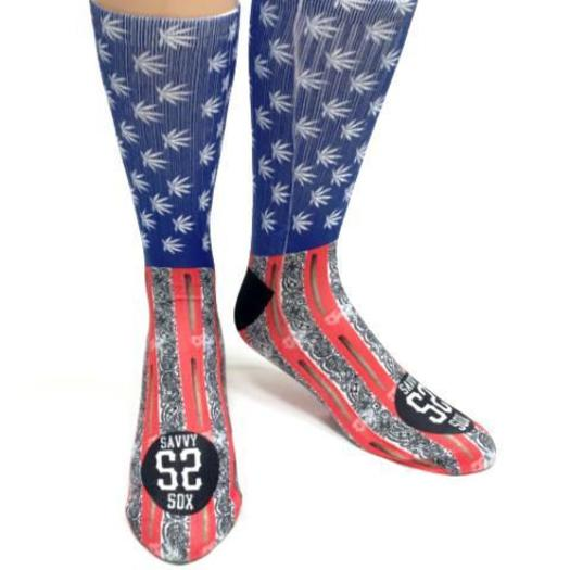SAVVY SOX CANNABIS MARY JANE FLAG SOCKS