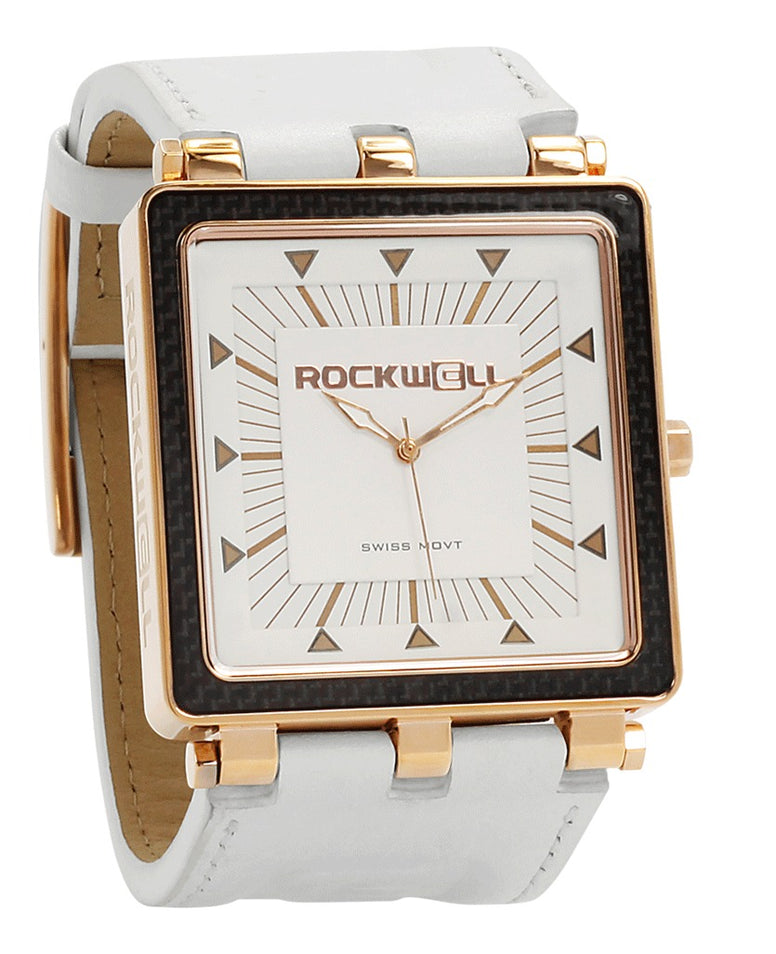 ROCKWELL THE CARBON FIBER WATCH WHITE LEATHER ROSE GOLD