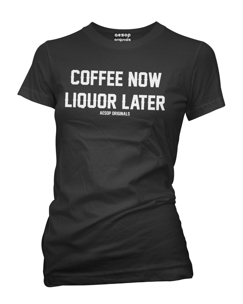 WOMENS AESOP COFFEE NOW LIQUOR LATER TEE SHIRT BLACK