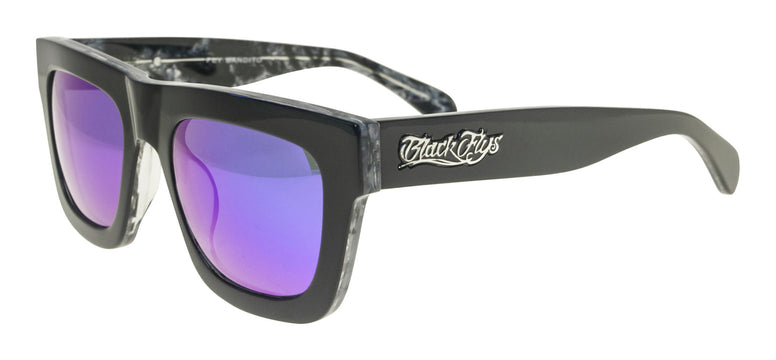 BLACK FLYS BANDITO SUNGLASSES SHINY BLACK / GREY MARBLE BLUE LENS