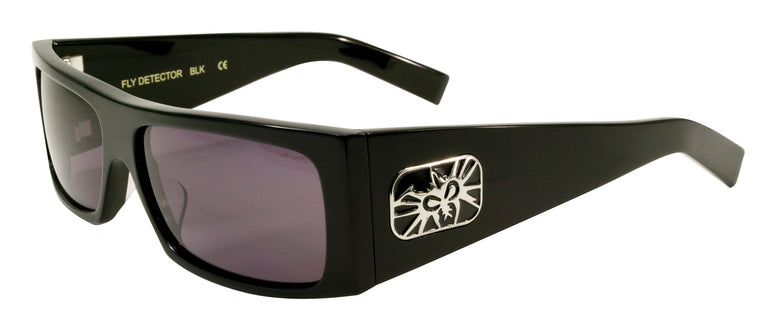 BLACK FLYS FLY DETECTOR SUNGLASSES SHINY BLACK POLARIZED SMOKE LENS