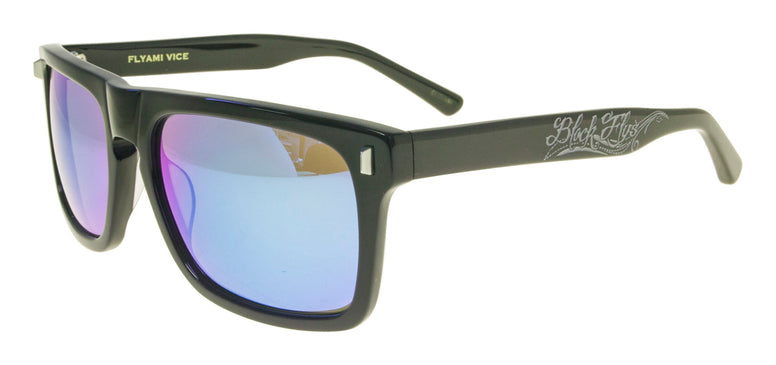 BLACK FLYS FLYAMI VICE SUNGLASSES SHINY BLACK BLUE LENS
