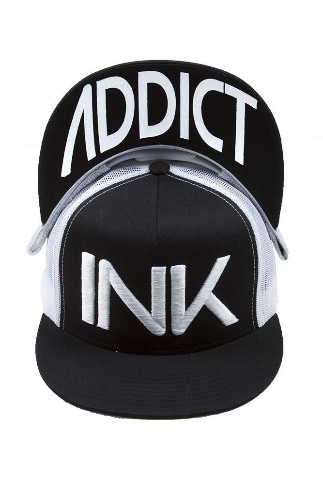 InkAddict FLAT BILL TRUCKER Hat BLACK / WHITE