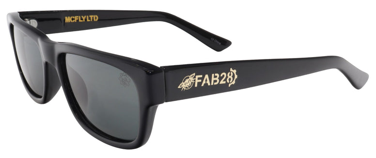 BLACK FLYS McFLY x FAB 28 SUNGLASSES SHINY BLACK SMOKE LENS