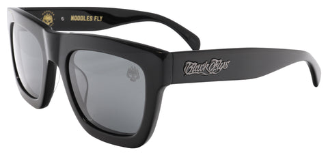 BLACK FLYS NOODLE BANDITO SUNGLASSES SHINY BLACK SMOKE LENS