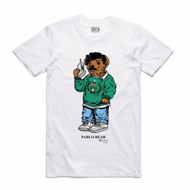 Streetwear on Demand BEAR PABLO TEE WHITE