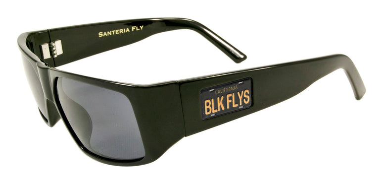 BLACK FLYS SANTERIA CALI PLATE SUNGLASSES SHINY BLACK POLARIZED