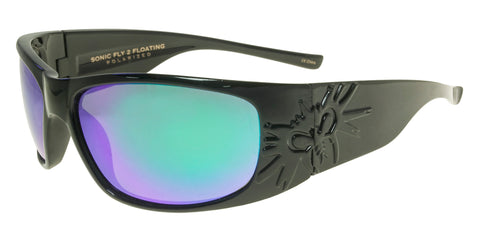 BLACK FLYS MICRO FLY SUNGLASSES POLARIZED SHINY BLACK BLUE LENS