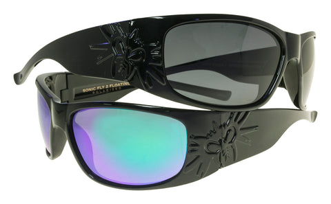 BLACK FLYS SONIC FLY 2 SUNGLASSES POLARIZED FLOATING SHINY BLACK BLUE LENS