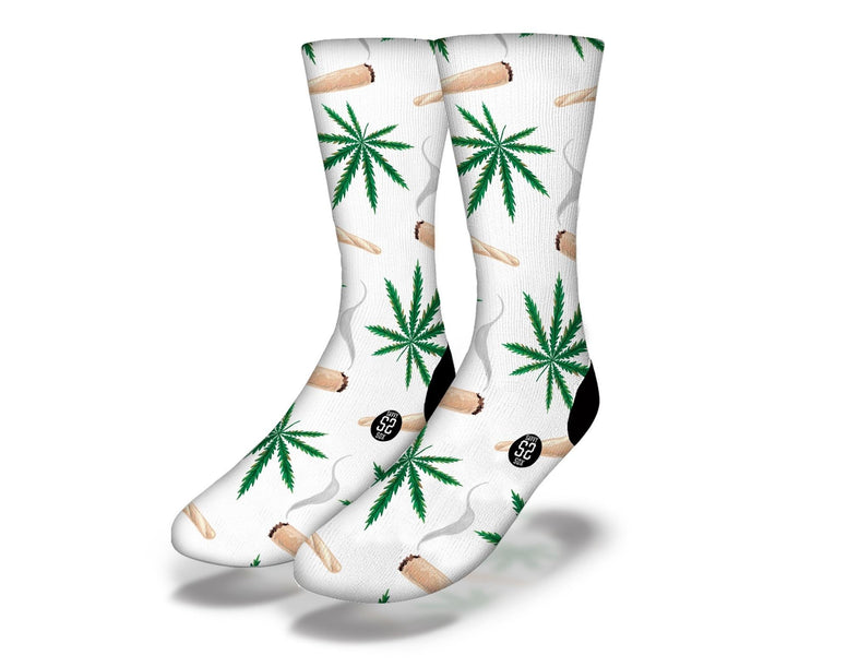 SAVVY SOX WEED AND JOINTS WHITE SOCKS