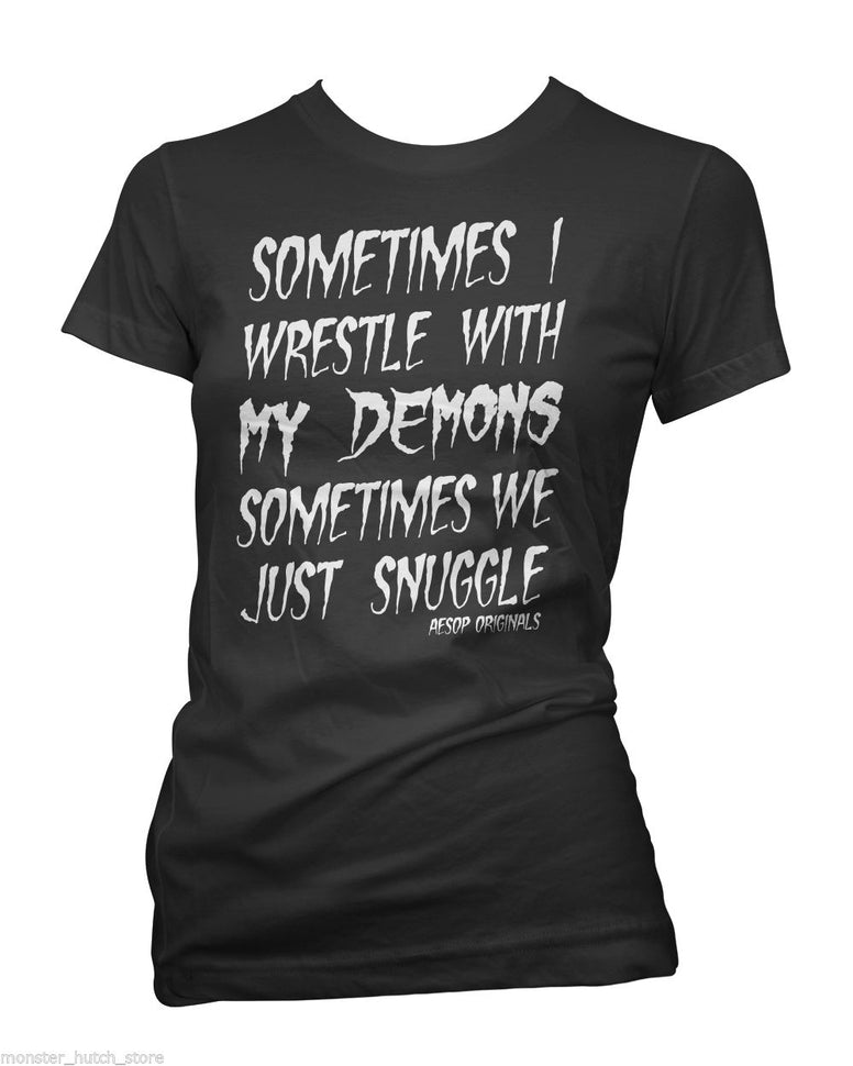 WOMENS AESOP ORIGINALS WRESTLE MY DEMONS TEE SHIRT BLACK