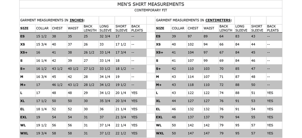 Size guide for Carro men's shirt. Garment measurements in inches & centimetres.
