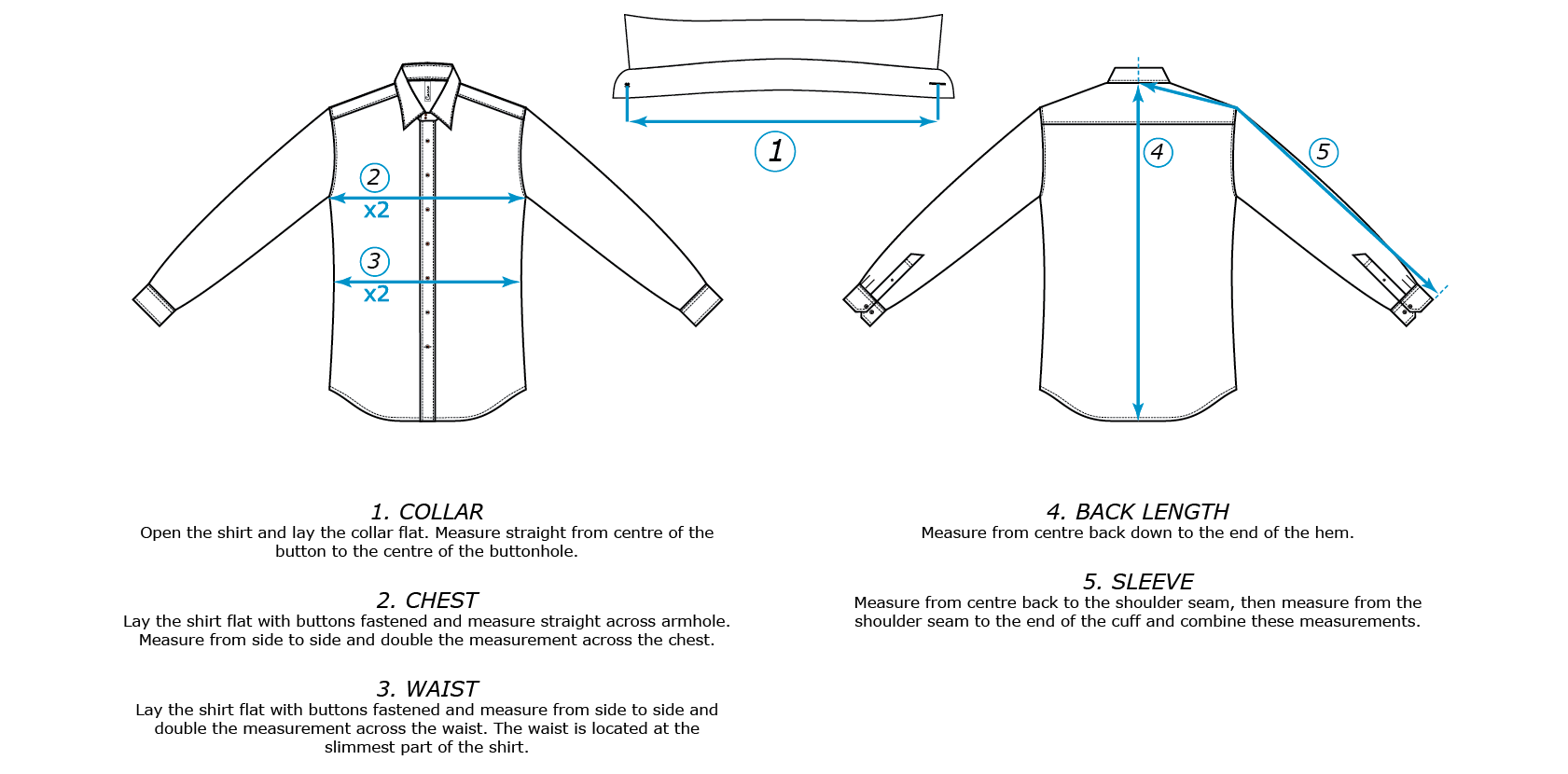 Size guide for Carro men's shirt. Garment measurements in inches & centimetres. Measurement visual.