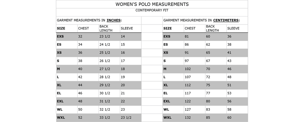 Size guide for Carro women's polo.  Garment measurements in inches & centimetres.