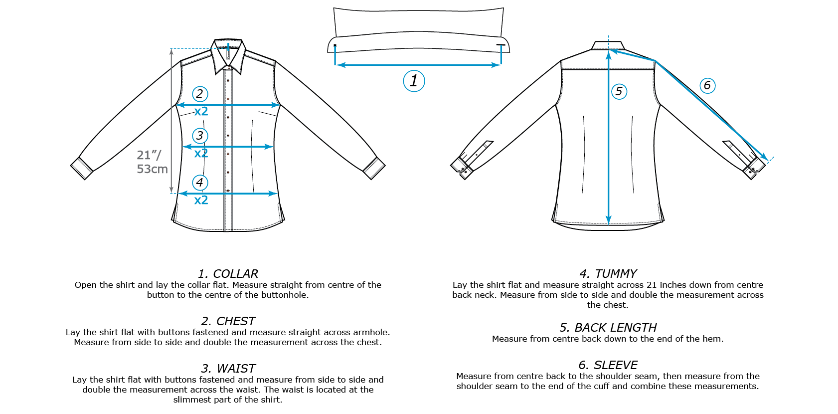 Size guide for Carro women's shirt. Measurement visual.