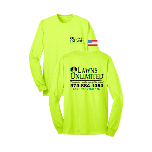 Lawns Unlimited® Long Sleeve Tshirt / Safety Green w/US Flag