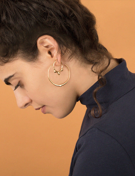 Mercury drop hoop earrings gold studio baladi