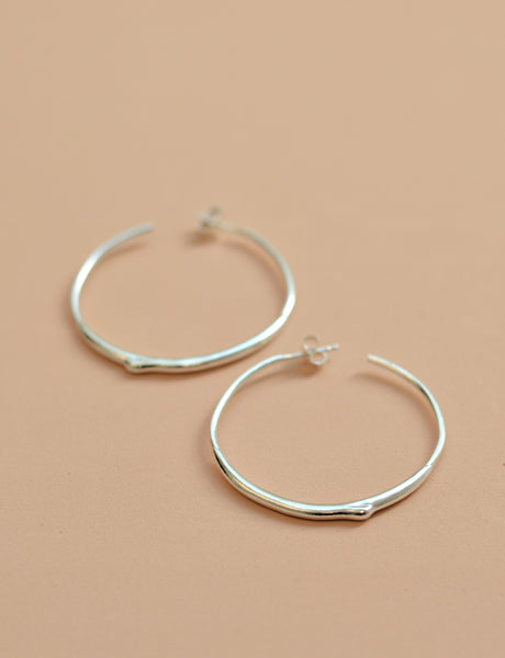 Mercury drop hoop earrings sterling silver studio baladi