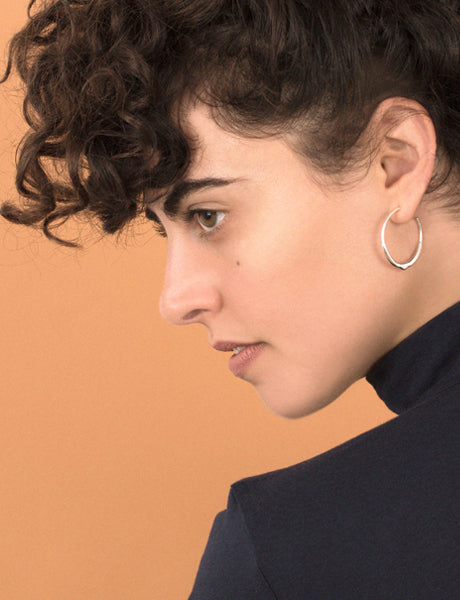Drop hoop earrings sterling silver by studio baladi