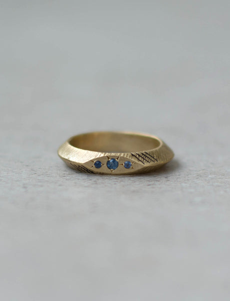 Raw Brass and sapphires ring by studio baladi