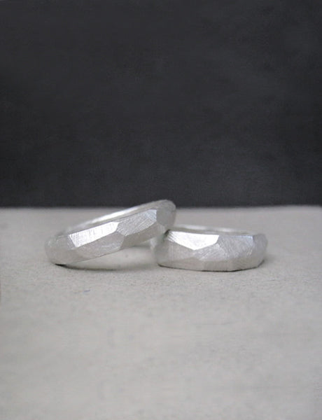 faceted wedding ring set