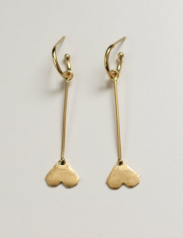 Upside down heart earrings by studio baladi