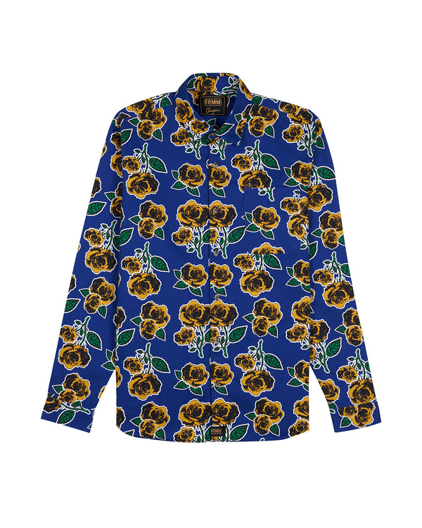 FOMM Men's shirt featuring mustard roses and green foliage sublimated by a crisp white outline.