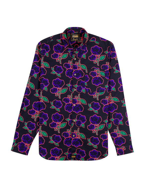 FOMM shirt featuring dark blue roses and light green foliage sublimated by a neon pink outline.