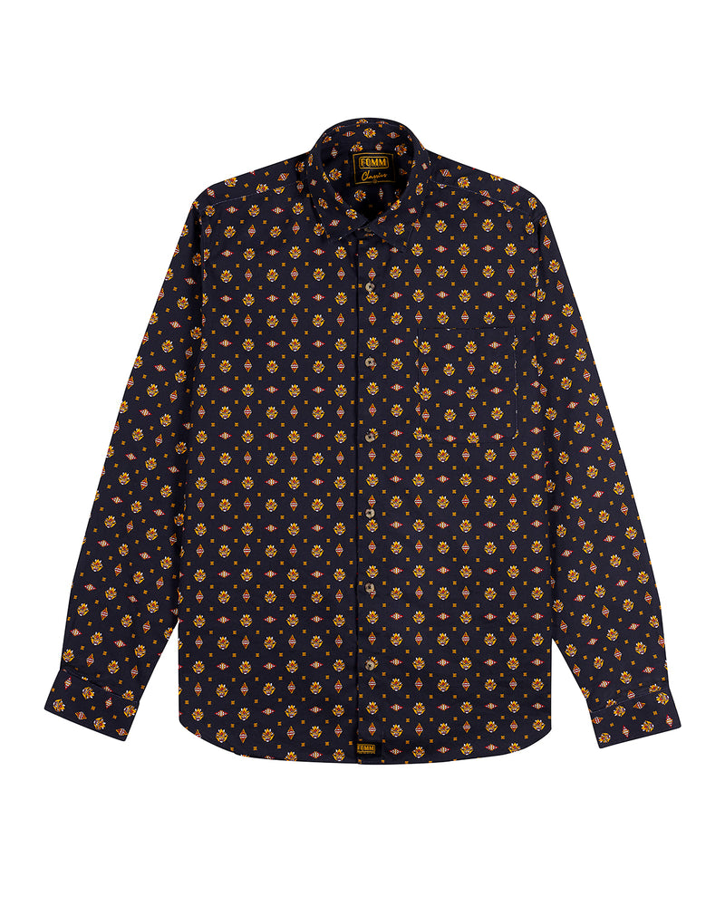 FOMM Men's shirt featuring floral geometric repetitions on a smokey black background.