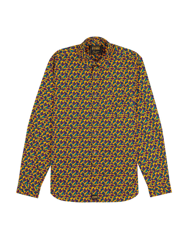 FOMM Men's shirt with paisley prints and vibrant yellow background