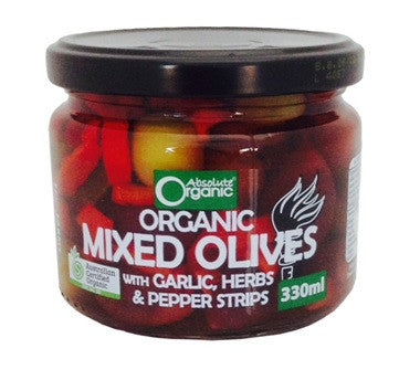 Absolute Organic Greek Mixed Olives with Garlic, Herbs, Peppers 330ml
