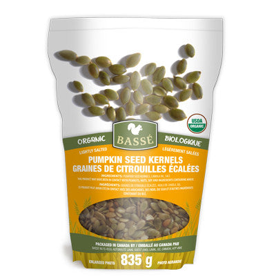 Basse Roasted Organic Pumpkin Seeds Kernels 835g