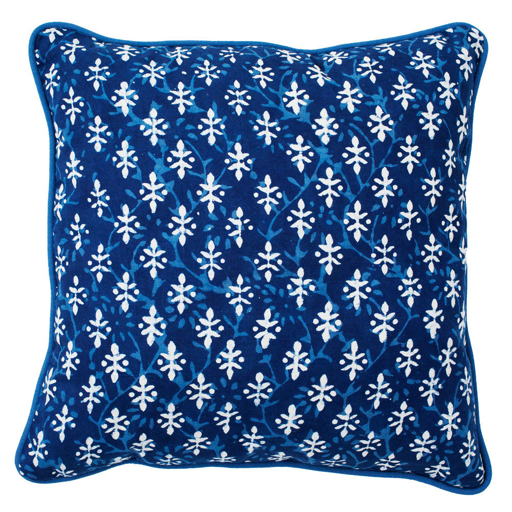 indigo cushion, matla, hand made, indian matla, hand block printed, raditional Indian motifs