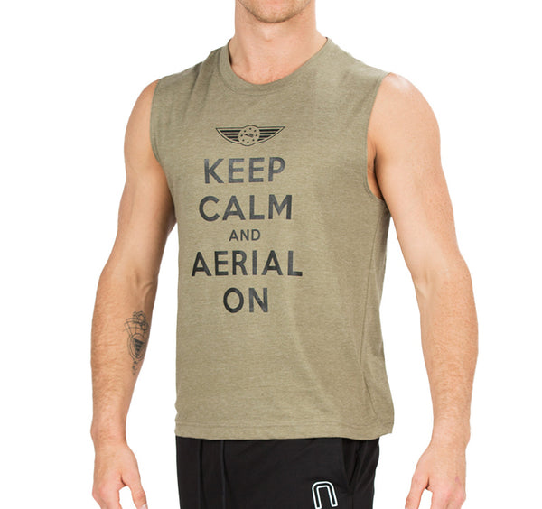 "CIRFIT Men's ""Aerial on"" Muscle Tee - Haki"