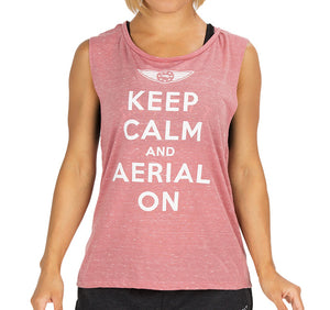 "Women's ""Aerial on"" Muscle Tee - Salmon"