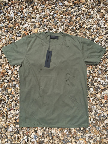 DISTRESSED TEE - MILITARY GREEN