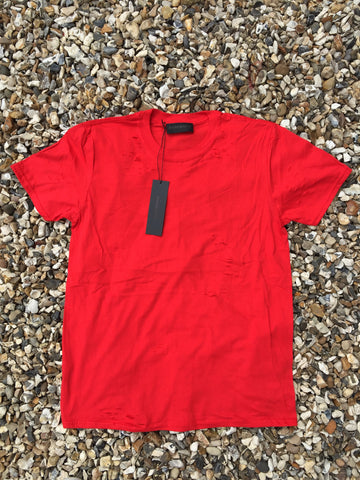 DISTRESSED TEE - RICH RED