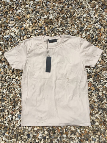 DISTRESSED TEE - BEIGE