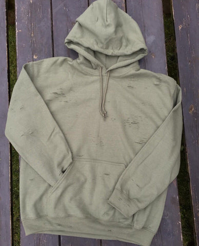 DISTRESSED HOODIE - MILITARY GREEN