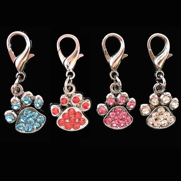 Classy Rhinestone Paw Print Dog Collar Charm, Get 2 For Only $9.99