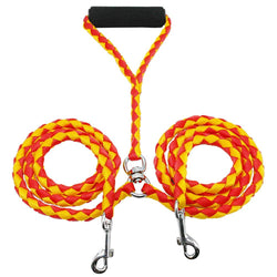 Braided Double Dog Leash, Durable and Tangle-Free