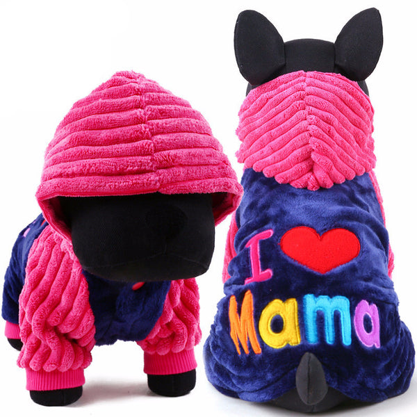 "New 2017 ""I love papa and mama"" Winter Hoodie For Yorkies"