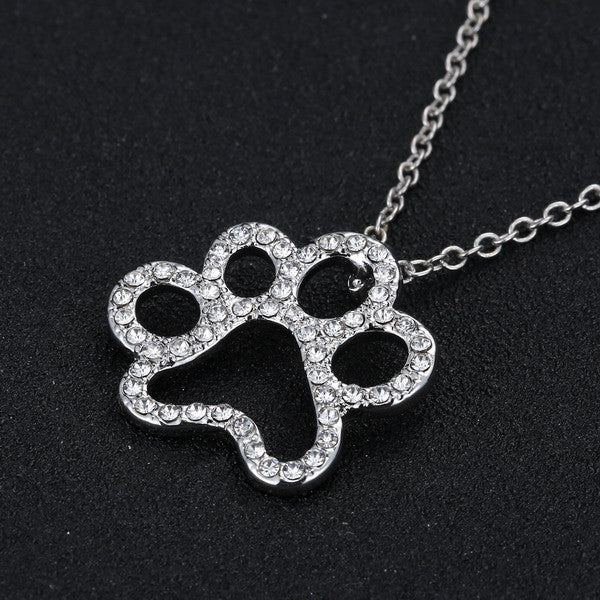 Beautiful Paw Print Pendant Necklace, Classy Black and White Crystal Rhinestones, Ideal Gift for All Yorkie Lovers