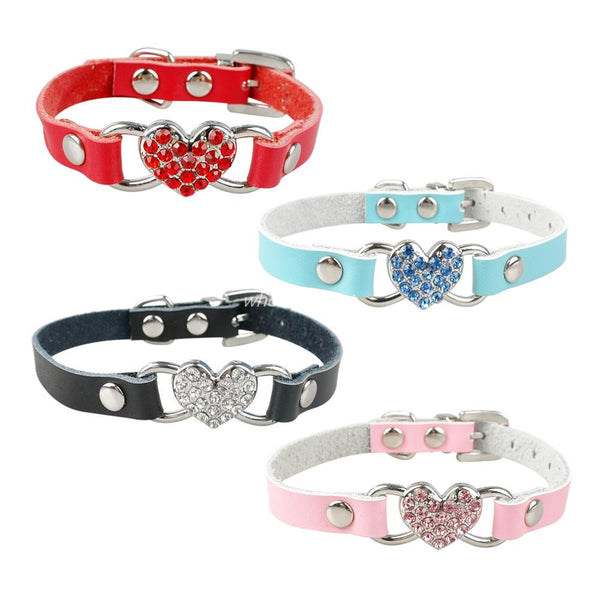 Charming Rhinestone Heart Charm Dog Collar, Adjustable