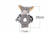 Super Cute Animal Ring Plush Squeak Toy - Rhino, Elephant and Monkey