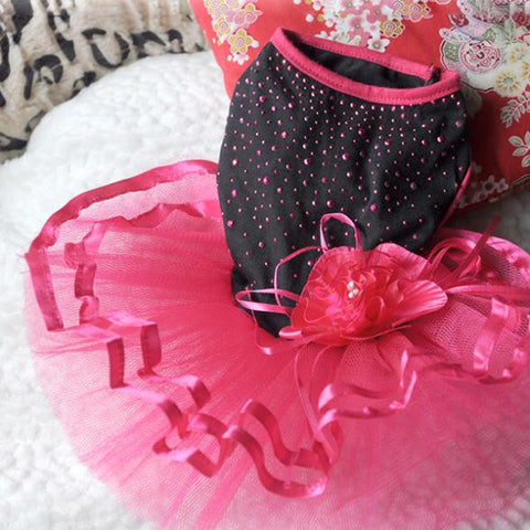 Yorkie Tutu Dress, Red Flower Summer Dress