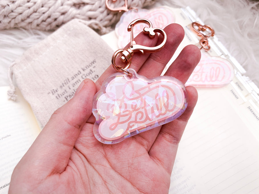 Be Still Holographic-Keychains
