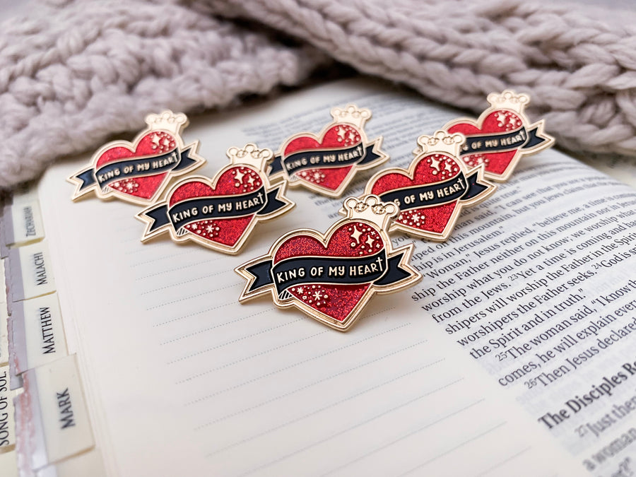 Group of King of My Heart Christian Enamel Pins | PRINCE OF PINS