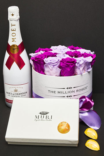 Trandafiri criogenati & Moet rose ice imperial & Muri Selection