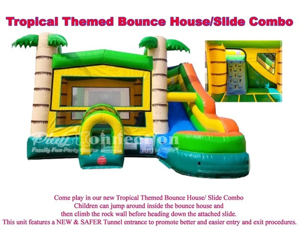 Tropical Themed Bounce House With Slide